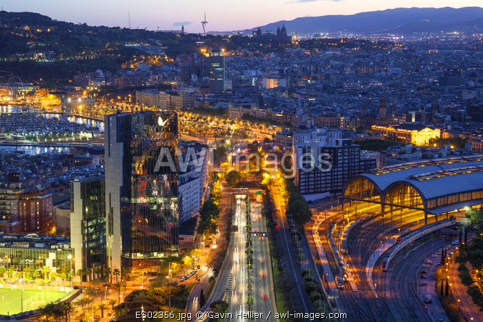 Elevated dusk view over Barcelona city centre, Catalunya, Spain