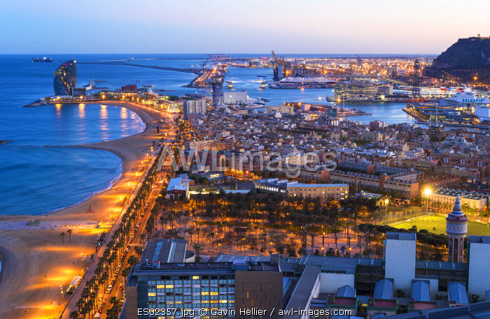 Elevated dusk view over Barcelona  beaches and seaport, Barcelona, Catalunya, Spain