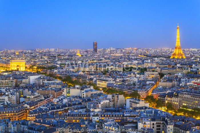 City, Arc de Triomphe and the Eiffel Tower, viewed over rooftops, Paris, France, Europe