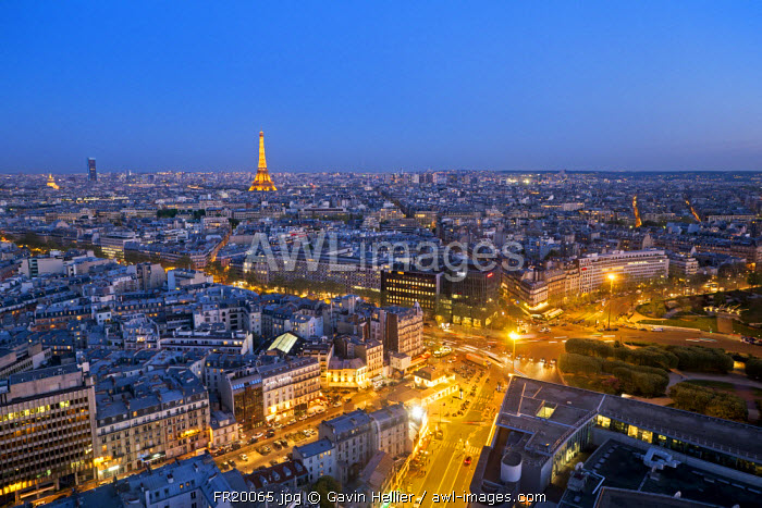 Elevated view of city with the Eiffel Tower in the  distance, Paris, France, Europe