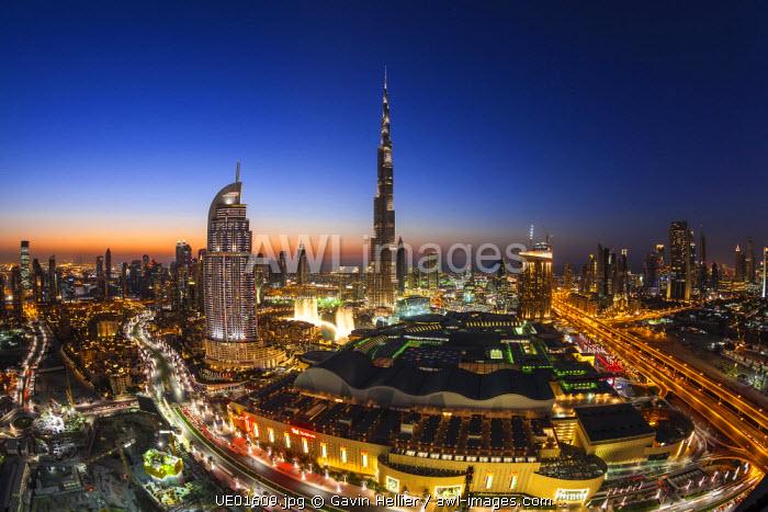 United Arab Emirates, Dubai, the Burj Khalifa, elevated view looking over the Dubai Mall