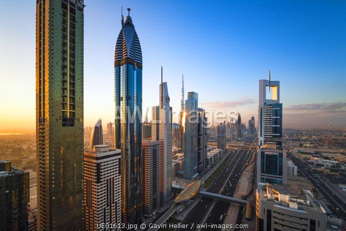 United Arab Emirates, Dubai, Sheikh Zayed Rd, traffic and new high rise buildings along Dubai's main road