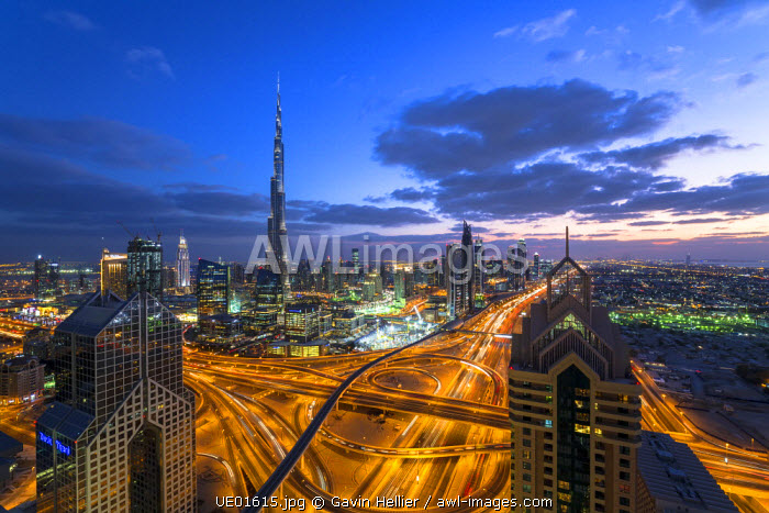 The Burj Khalifa Dubai, elevated view across Sheikh Zayed Road and Financial Centre Road Interchange, Downtown Dubai, Dubai, UAE