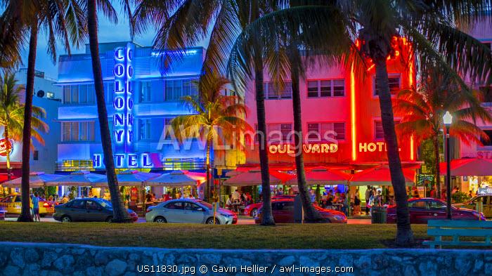 Art deco district, Ocean Drive, South Beach, Miami Beach, Miami, Florida, USA