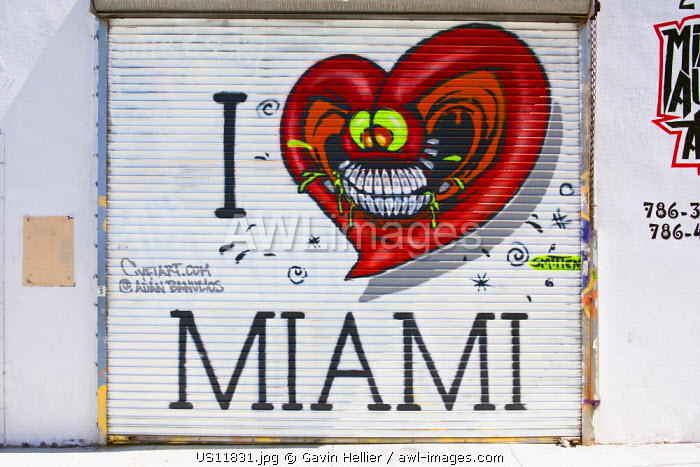 Graffiti street art in the Wynwood Art District of Miami, Florida, USA