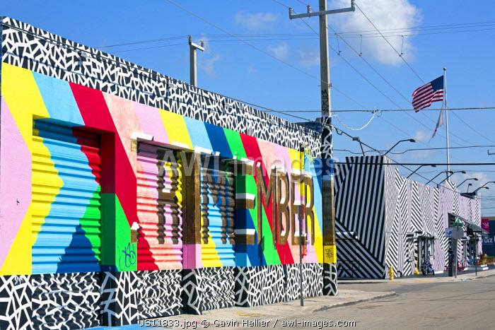 Graffiti street art in the Wynwood Art District of Miami, Florida, USA
