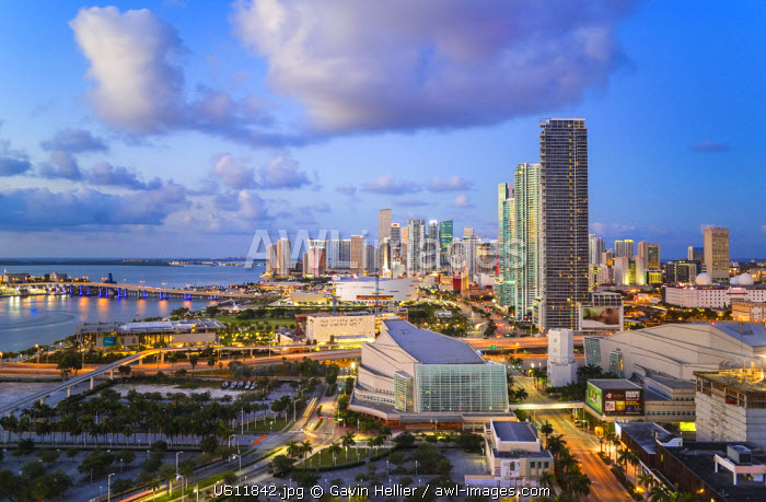 Elevated view over Biscayne Boulevard and the skyline of Miami, Florida, USA