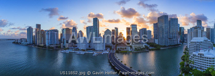 View from Brickell Key, a small island covered in apartment towers, towards the Miami skyline, Miami, Florida, USA