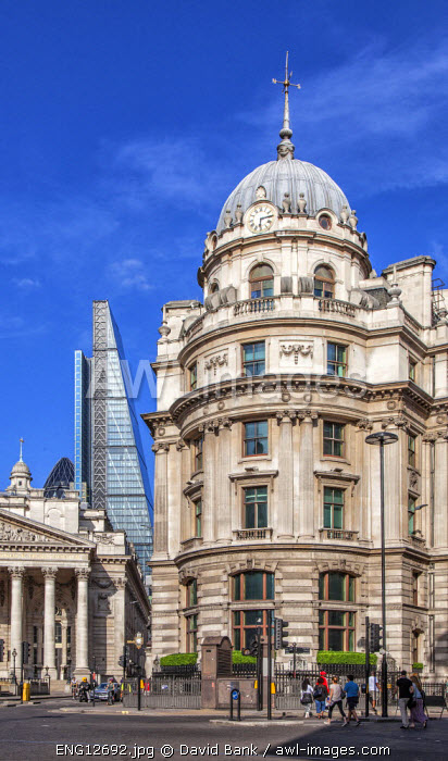 The City of London at Bank station with the Leadenhall Building and the Royal Exchange in the background.