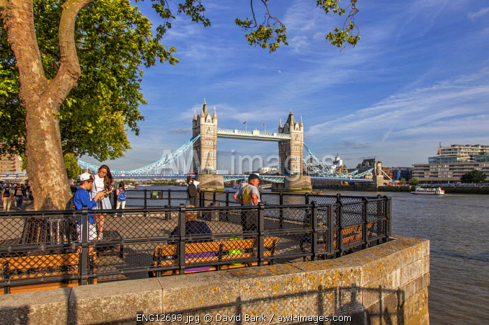 The famous Tower Bridge in London and the River Thames seen from the north western side.