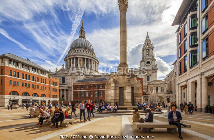 St. Paul's Cathedral in London seen from Paternoster Square at lunch time.
