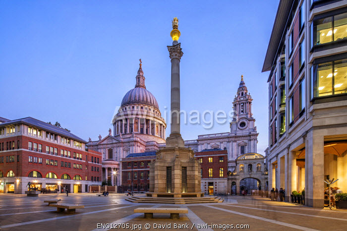 St. Paul's Cathedral in London seen from Paternoster Square at dusk.