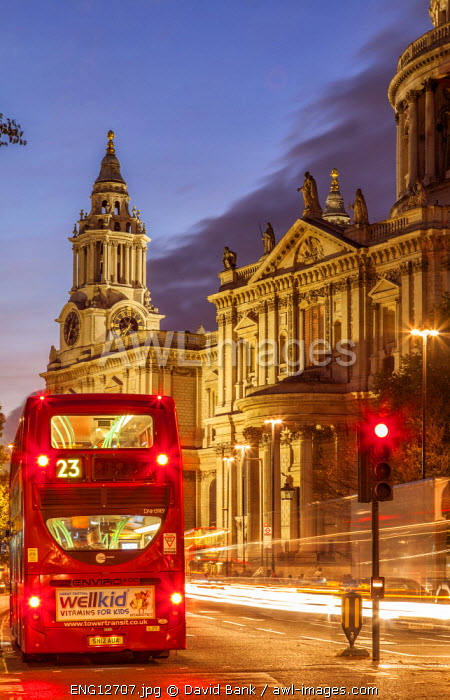 St. Paul's Cathedral in London at Dusk.