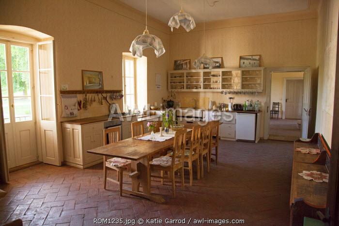 Romania, Transylvania, Malancrav. The kitchen at the Apafi Manor, once a hunting lodge of the noble family Apafi, rulers of Transylvania in the 17th century.