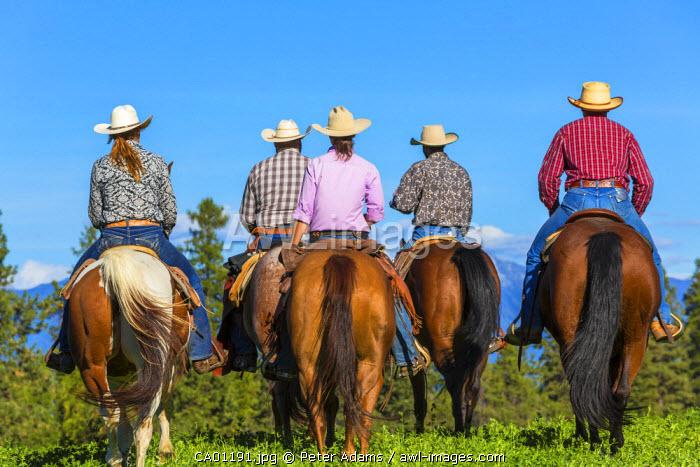 Cowboys & cowgirls galloping horses across grassland British Columbia, Canada
