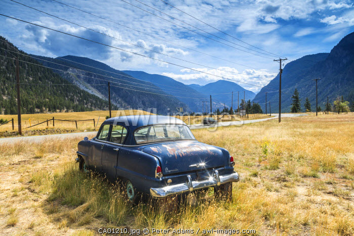 Old abandoned American car by road, British Columbia, Canada
