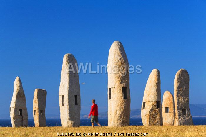 Menhirs Standing Stones, Paseo Dos Menhires, La Coruna, (A Coruna), Galicia, Spain