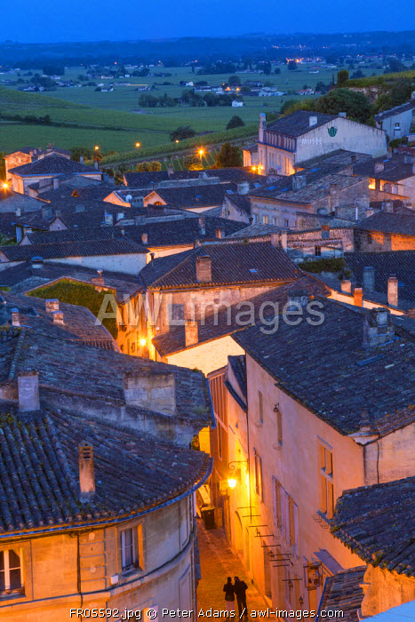 View over St. Emilion at dusk, Gironde, Aquitaine, France