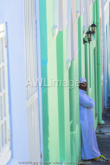 Man outside mosque, Bo Kaap, Muslim Malay Quarter, Cape Town, Western Cape, South Africa