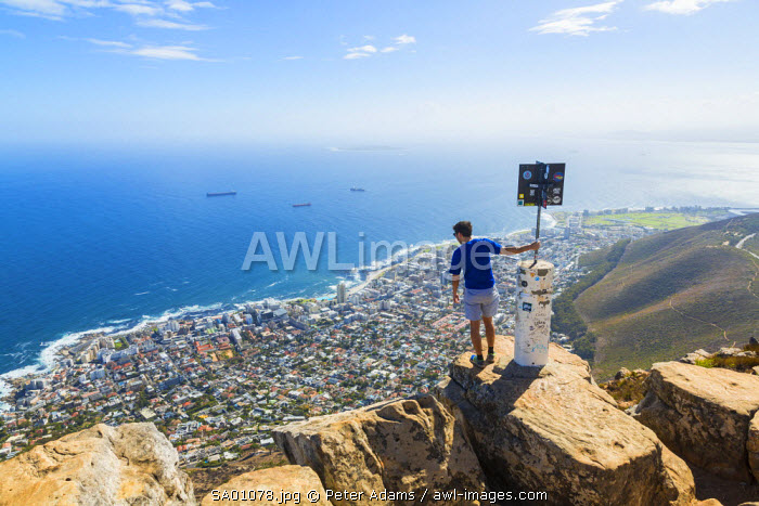 View from Lion's Head of Cape Town below, Cape Town, Western Province, South Africa