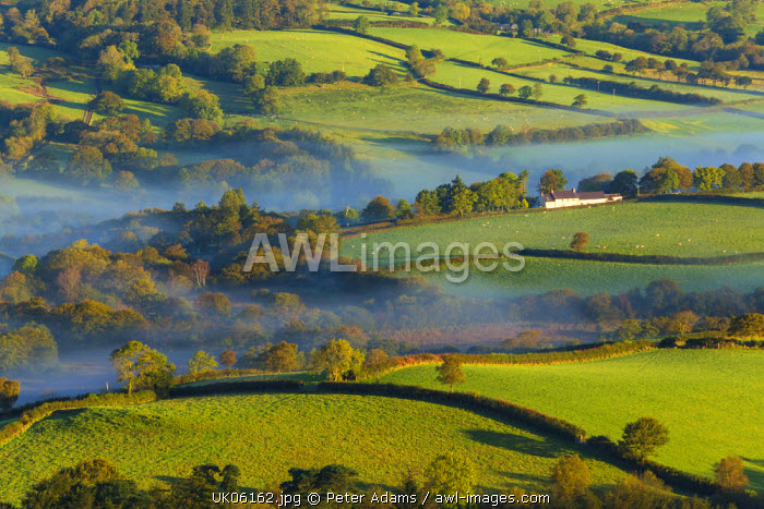 Misty valley in The Western Brecon Beacons National Park, Wales, United Kingdom