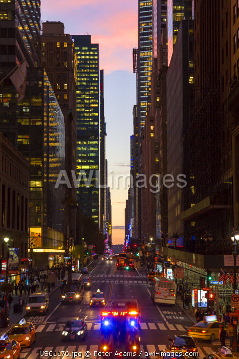 42nd Street at dusk, central Manhattan, New York, USA