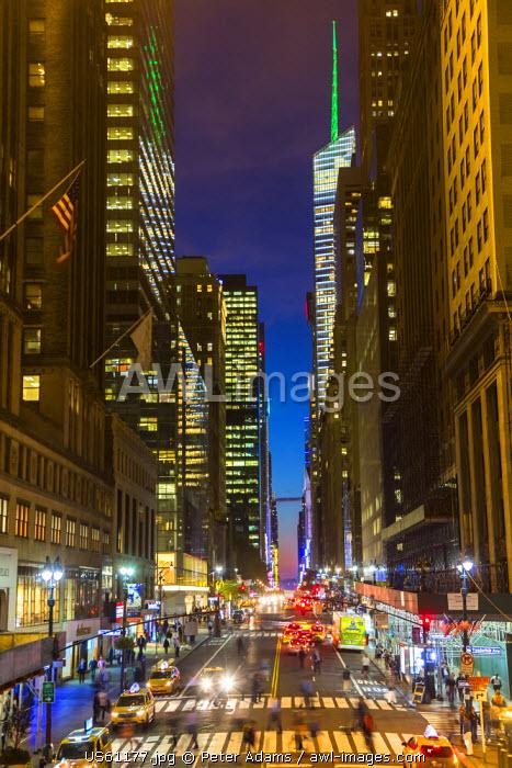 42nd Street at dusk, central Manhattan, New York, USA