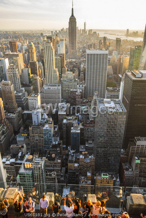 View of Empire State Building & Manhattan skyline from Top of the Rock, Manhattan, New York, USA