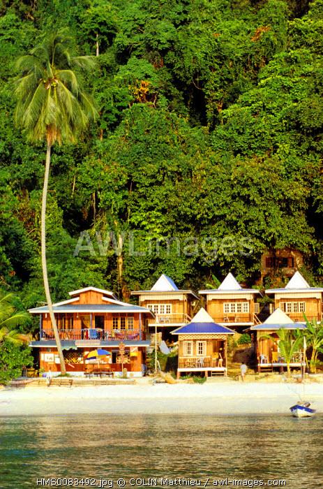 Malaysia, Terengganu State, Perhentian, bungalows in Kecil island