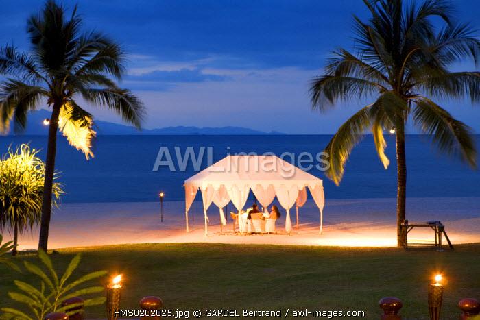 Malaysia, Kedah state, Andaman Sea, Langkawi island, Four Seasons Resort, romantic dinner on Tanjung Rhu beach