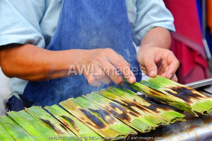 Malaysia, Melaka state, Malacca, dough of fish roasts cooked in a banana leaf