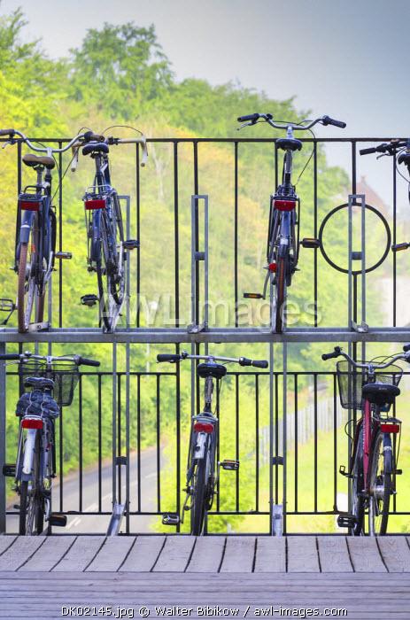 Denmark, Jutland, Aarhus, double decker bicycle parking