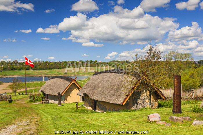 Denmark, Jutland, Hobro, Vikingecenter Fyrkat, Viking style farmstead