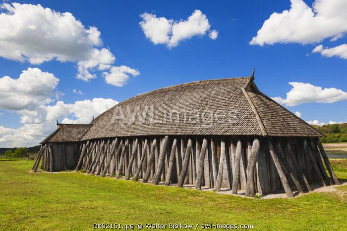 Denmark, Jutland, Hobro, Fyrkat, Viking house by 10th century Fyrkat fortress