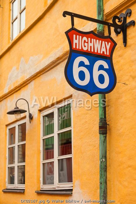 Denmark, Jutland, Aalborg, Highway 66 sign