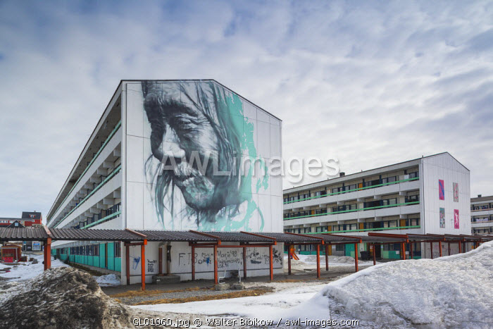 awl-images.com - Greenland / Greenland, Nuuk, city housing projects with Inuit art mural