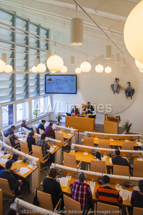 awl-images.com - Greenland / Greenland, Nuuk, Greenland Parliament Building, elevated view of Parliamentary chambers with lawmakers, editorial release, REL-GRL-15-01
