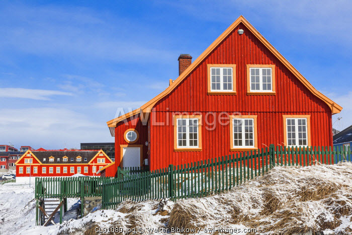 awl-images.com - Greenland / Greenland, Nuuk, Kolonihavn area, residential houses