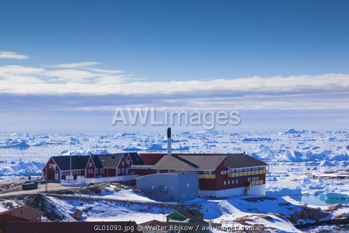 awl-images.com - Greenland / Greenland, Disko Bay, Ilulissat, elevated view with town hospital
