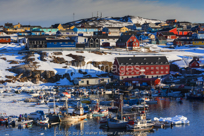 awl-images.com - Greenland / Greenland, Disko Bay, Ilulissat, town harbor, elevated view
