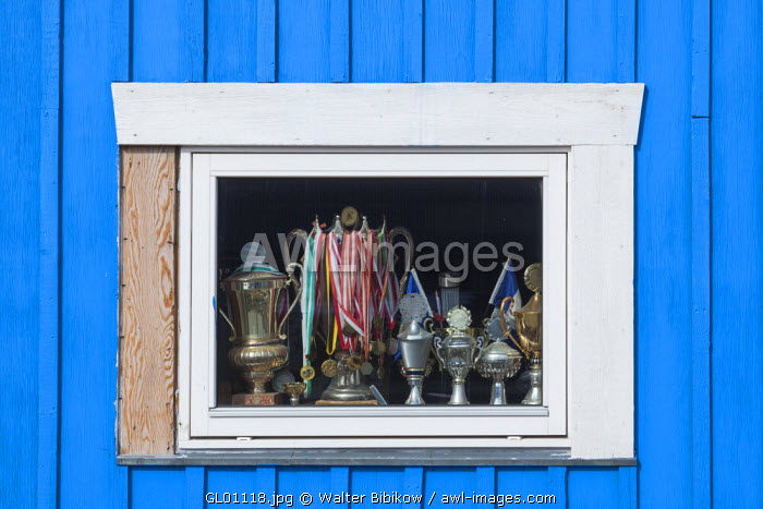 awl-images.com - Greenland / Greenland, Disko Bay, Ilulissat, window with trophies