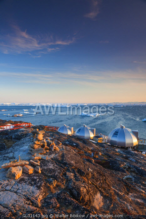 awl-images.com - Greenland / Greenland, Disko Bay, Ilulissat, waterfront igloo houses