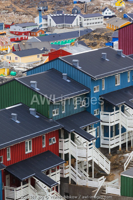 awl-images.com - Greenland / Greenland, Qaqortoq, elevated view of apartment houses