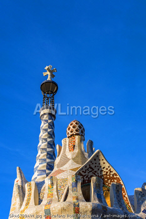 awl-images.com - Spain / Pavilion at entrance to Park Guell, Barcelona, Catalonia, Spain