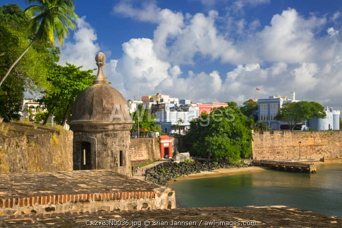 A Garita, sentry box, along the fortified walls of Old Town, San Juan, Puerto Rico