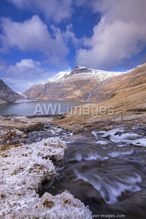 awl-images.com - Denmark / Snow and ice covered scenery at Saksun on the island of Streymoy, Faroe Islands, Denmark, Europe. Winter (April) 2015.