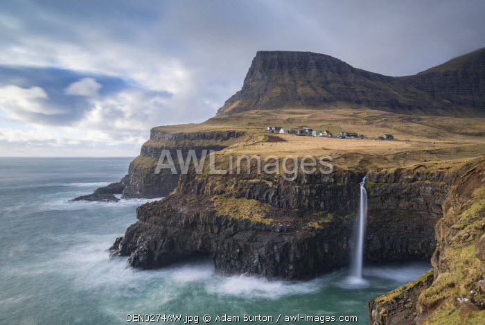 awl-images.com - Denmark / Dramatic coastal scenery near the village of G�sadalur on the island of V�gar in the Faroe Islands, Denmark, Europe. Spring (April) 2016.