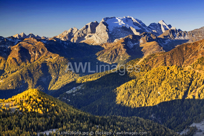 awl-images.com - Italy / Europe, Italy, Veneto, Belluno. The grassy ridge of Padon, behind it the Marmolada, Dolomites