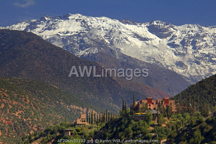 awl-images.com - Morocco / Morocco, Asni. View of the Atlas Mountains and Richard Branson's Moroccan Retreat, Kasbah Tamadot.