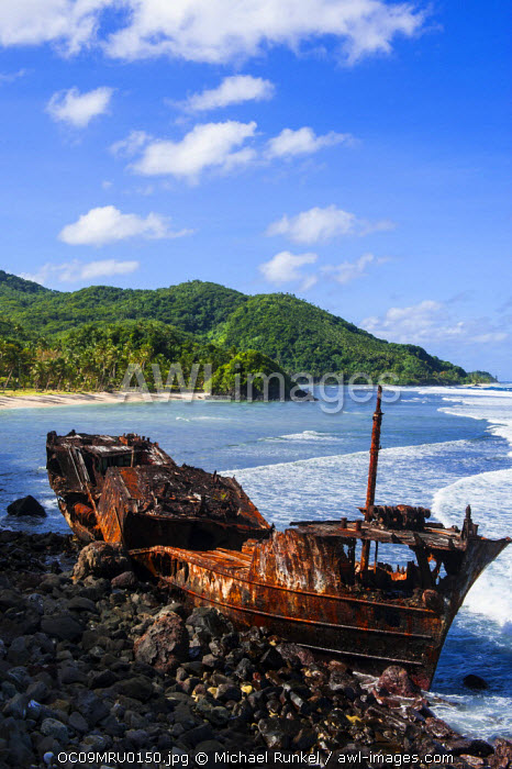 awl-images.com - Samoa / Shipwreck on the east coast of Tutuila Island, American Samoa, South Pacific